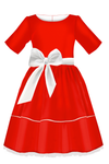 Full Red Silk Girls Dress with White Details