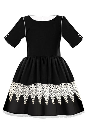 Black Full Girls Dress with White French Lace