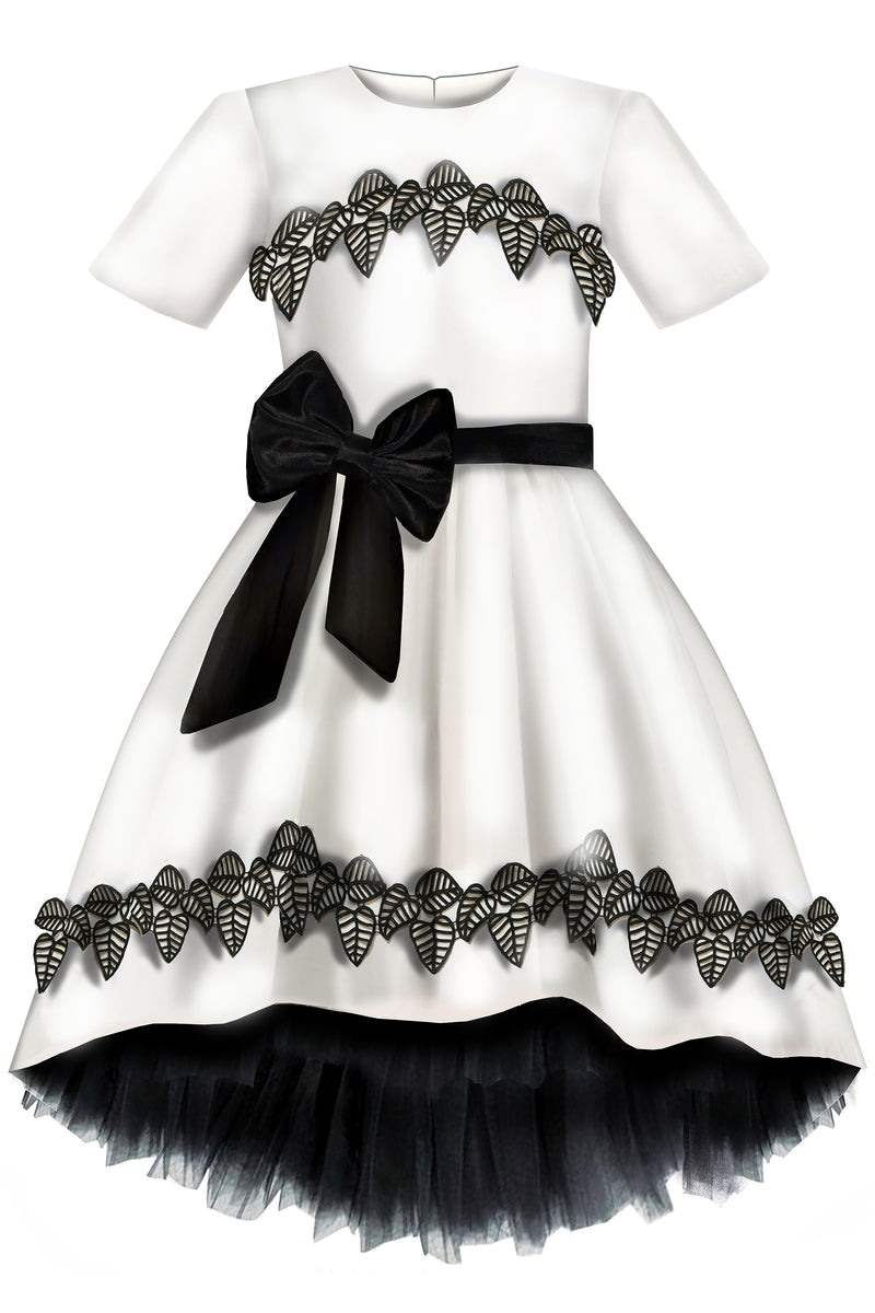 ⋆Limited Edition⋆ Elegant Ivory Taffeta Girls High-Low Dress with Black Flower Leaf Lace Details - LAZY FRANCIS - Shop in store at 406 Kings Road, Chelsea, London or shop online at www.lazyfrancis.com