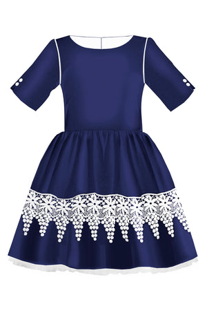 Navy Blue Full Girls Dress with White French Lace - LAZY FRANCIS - Shop in store at 406 Kings Road, Chelsea, London or shop online at www.lazyfrancis.com