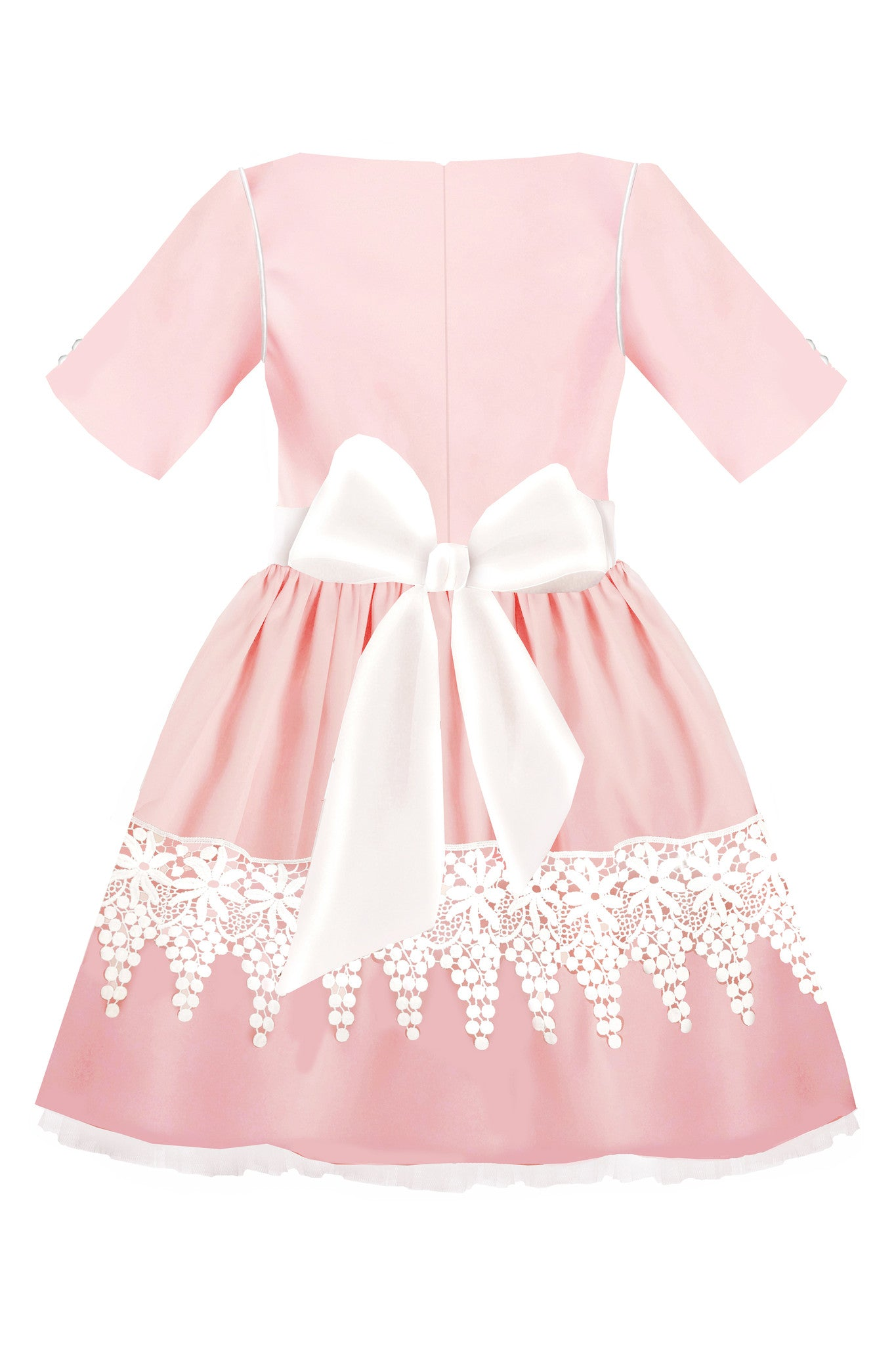 72e1d444efeb5c Pink Taffeta Full Girls Dress with White French Lace - LAZY FRANCIS - Shop  in store