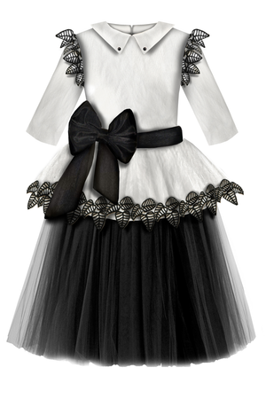 White Crinkle Taffeta Girls Peplum Tutu Dress with Black Unique Black Lace Details ⋆Limited Edition