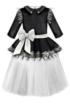 ⋆One Dress Only⋆ Black Glittery Viscose Girls Peplum Tutu Dress with White Unique Lace Details