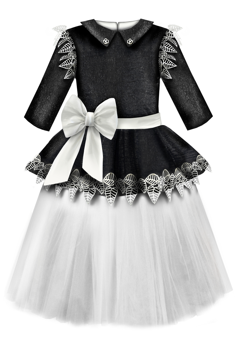 ⋆One Exclusive Dress Only⋆ Black Glittery Viscose Girls Peplum Tutu Dress with White Unique Lace Details - LAZY FRANCIS - Shop in store at 406 Kings Road, Chelsea, London or shop online at www.lazyfrancis.com