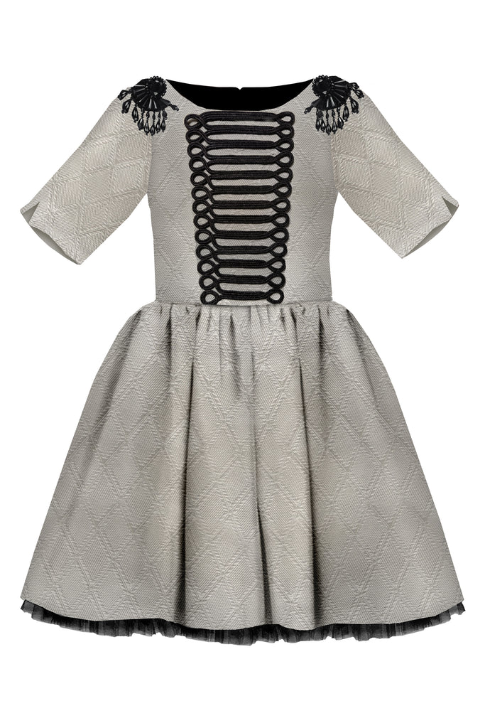 Grey Jacquard Full Girls Dress with Black Gem Stone Epaulettes - LAZY FRANCIS - Shop in store at 406 Kings Road, Chelsea, London or shop online at www.lazyfrancis.com