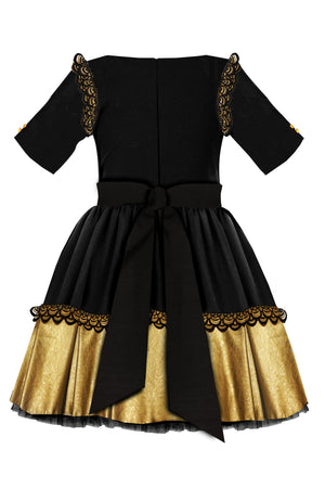 Black Corduroy Full Girls Dress with Gold Faux Leather Hem and Lace