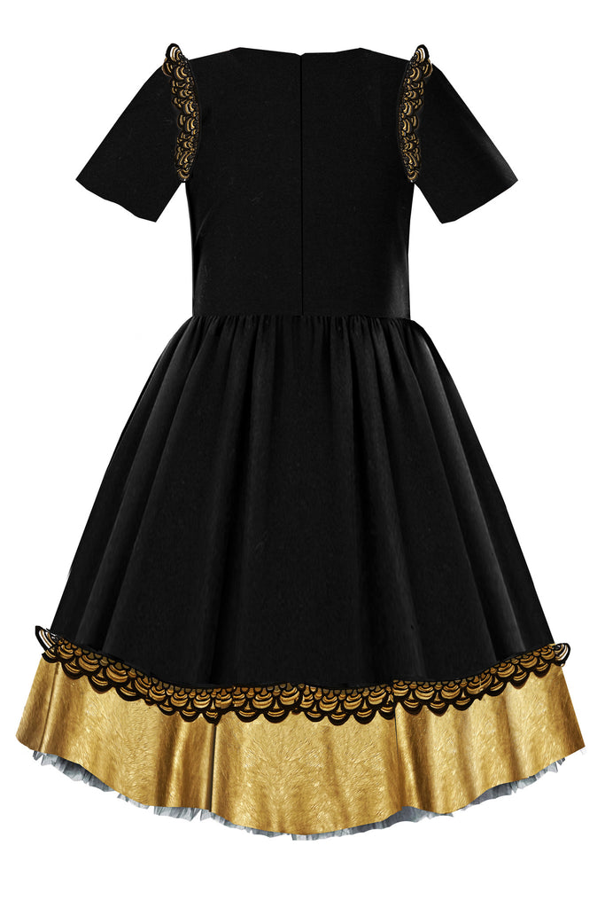 Black High-Low Girls Dress with Gold Faux Leather Hem and Lace - LAZY FRANCIS - Shop in store at 406 Kings Road, Chelsea, London or shop online at www.lazyfrancis.com