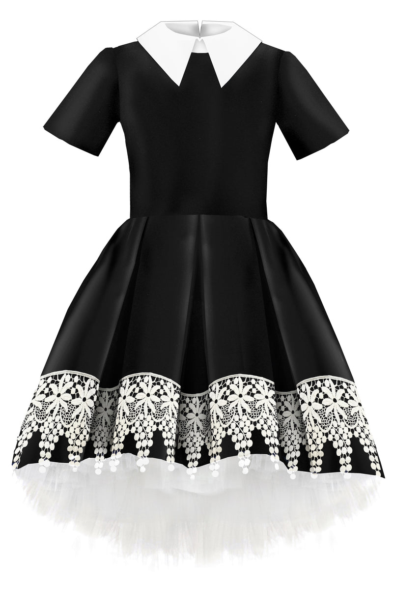 Black Taffeta High-Low Girls Dress with White French Lace - LAZY FRANCIS - Shop in store at 406 Kings Road, Chelsea, London or shop online at www.lazyfrancis.com