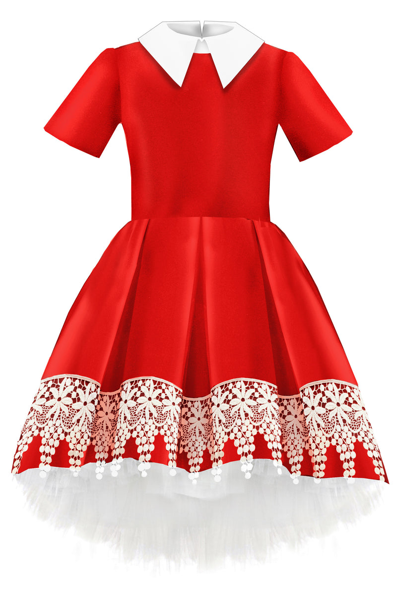Red Taffeta High-Low Girls Dress with White French Lace - LAZY FRANCIS - Shop in store at 406 Kings Road, Chelsea, London or shop online at www.lazyfrancis.com