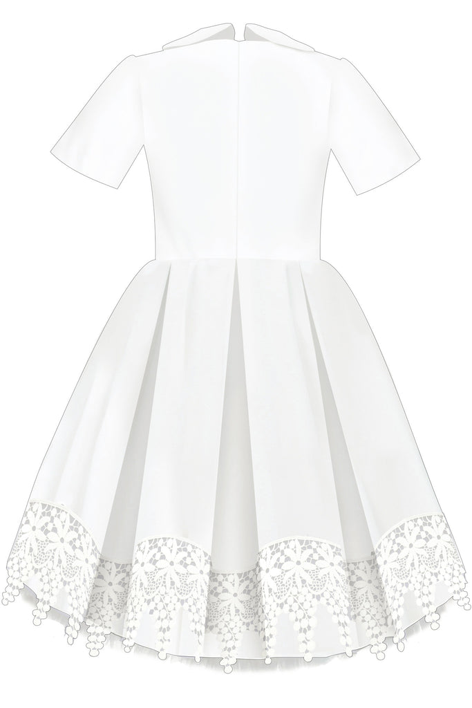 White Taffeta High-Low Girls Dress with French Lace - LAZY FRANCIS - Shop in store at 406 Kings Road, Chelsea, London or shop online at www.lazyfrancis.com