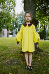 Colorful Yellow Neoprene Puff Sleeve Coat with Bordo Details