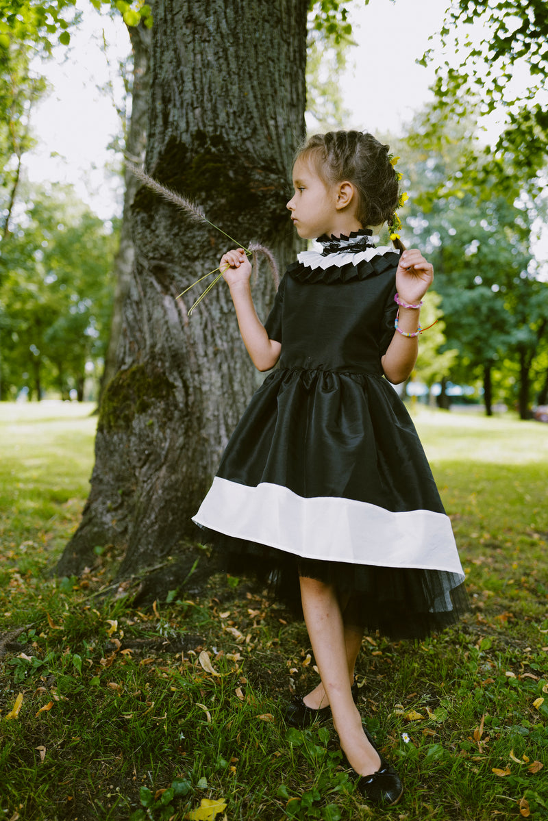 ⋆Limited Edition⋆ Elegant Black & Ivory Taffeta Girls High-Low Dress with Detachable Pleated Collar and White Bird Lace Details