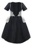 Black Satin High-Low Girls Dress with Rose Embroidery - LAZY FRANCIS - Shop in store at 406 Kings Road, Chelsea, London or shop online at www.lazyfrancis.com