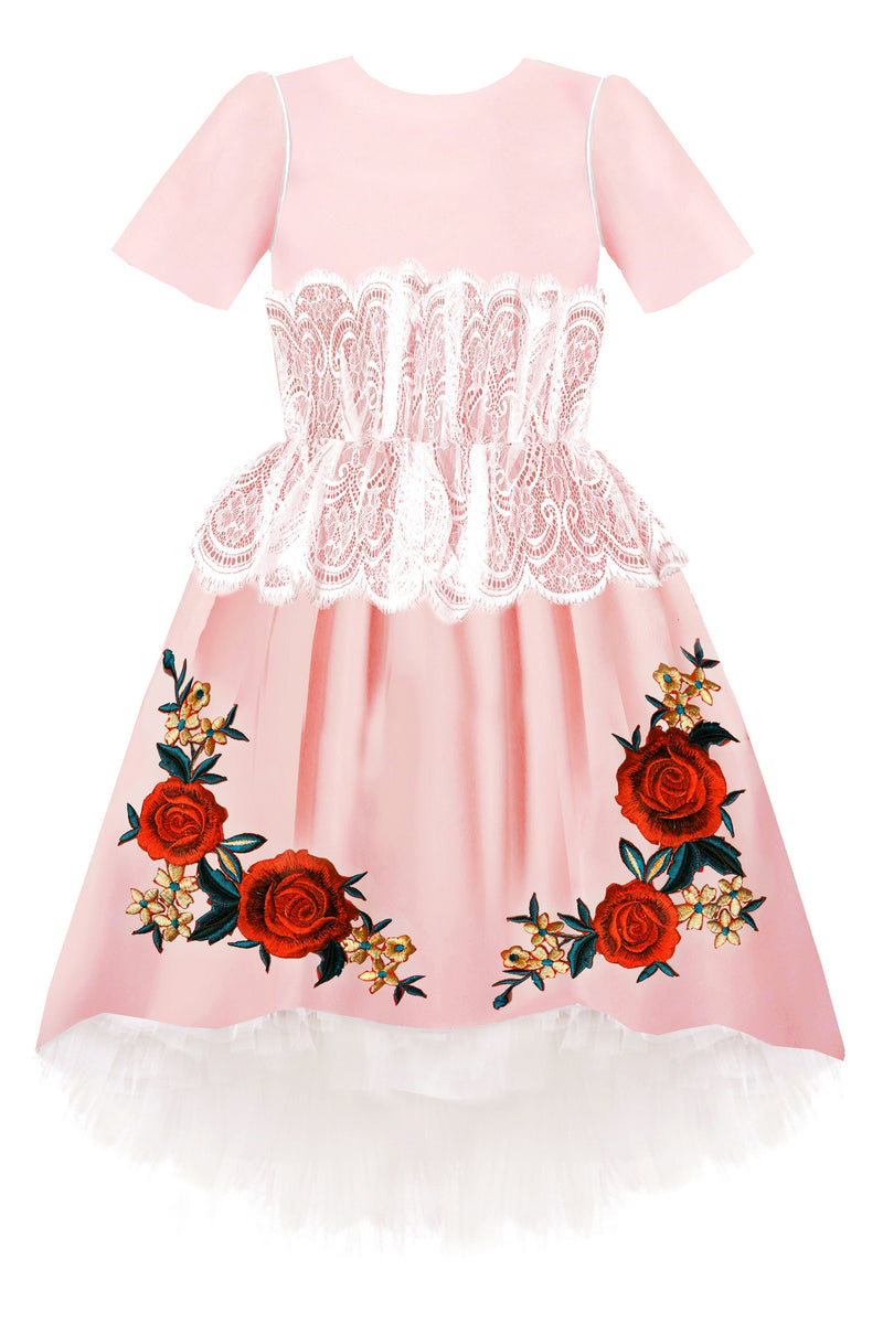 Pink Satin High-Low Dress Decorated with White French Lace and Rose Embroidery with 8m Tulle Underskirt - LAZY FRANCIS - Shop in store at 406 Kings Road, Chelsea, London or shop online at www.lazyfrancis.com