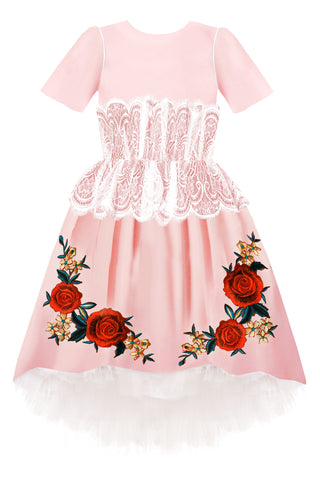 Black Satin Flared Girls Dress with White French Lace Ruffles