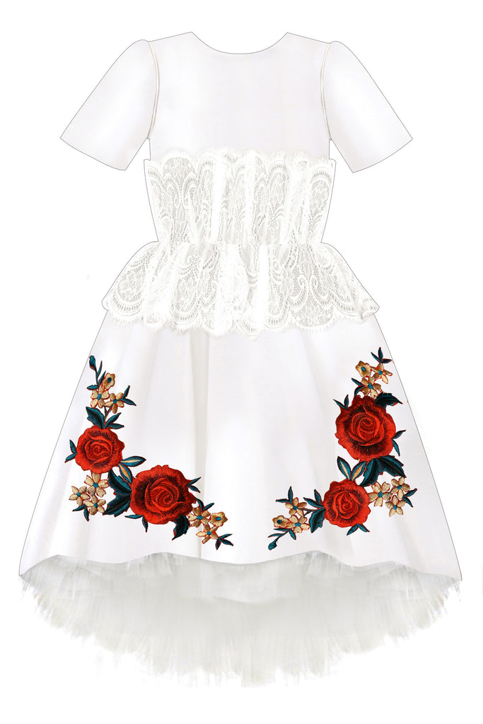 White Satin Girls High-Low Dress with White French Lace and Rose Embroidery - LAZY FRANCIS - Shop in store at 406 Kings Road, Chelsea, London or shop online at www.lazyfrancis.com