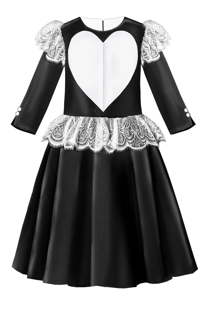 Black Satin Flared Girls Heart Dress with White French Lace - LAZY FRANCIS - Shop in store at 406 Kings Road, Chelsea, London or shop online at www.lazyfrancis.com