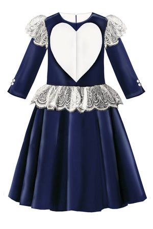Navy Satin Flared Girls Heart Dress with White French Lace - LAZY FRANCIS - Shop in store at 406 Kings Road, Chelsea, London or shop online at www.lazyfrancis.com