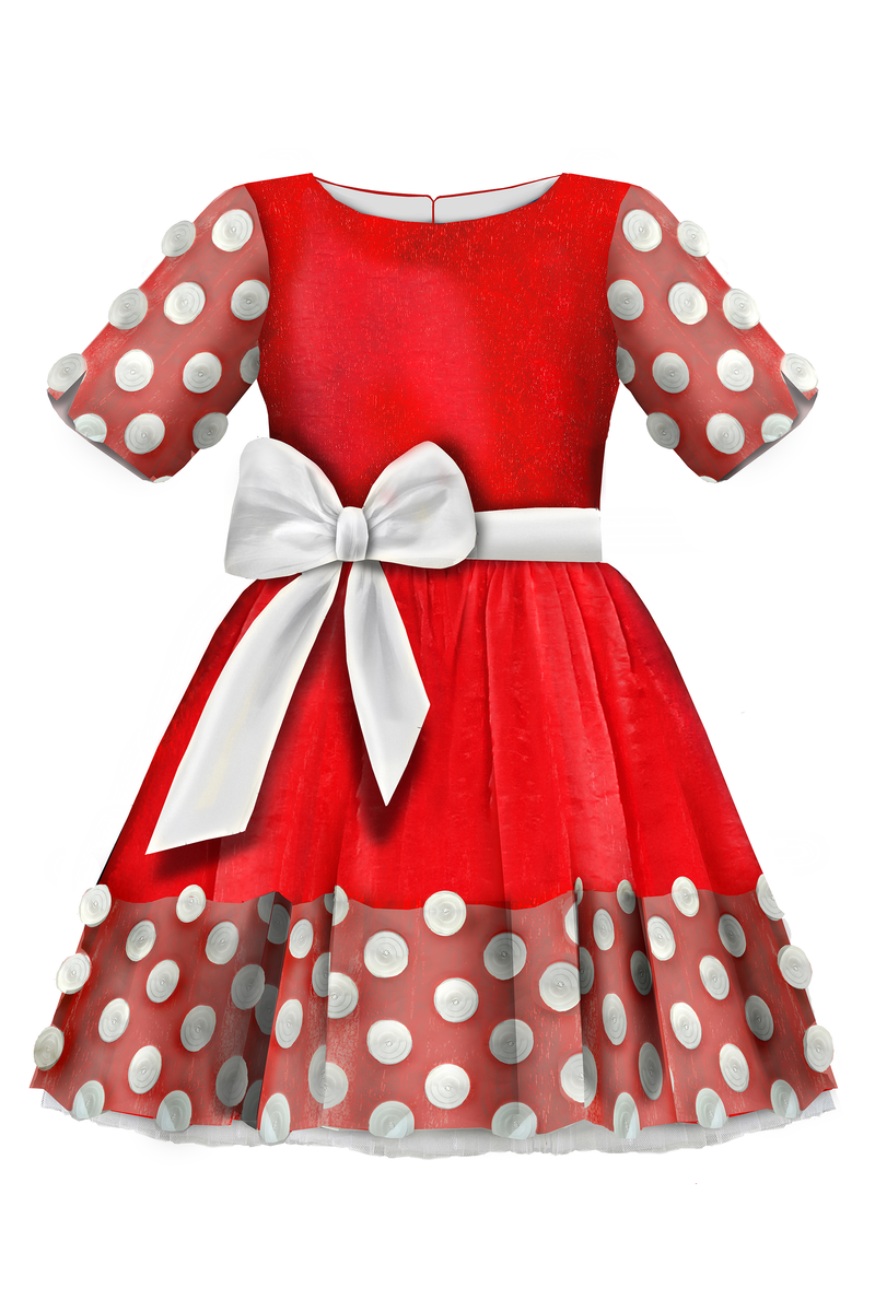Sparkling Red Full Girls Dress with White Tulle Lace Details and White Bow *Limited