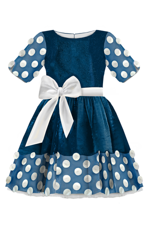Sparkling Navy Blue Full Girls Dress with White Tulle Lace Details and White Bow *Limited Edition