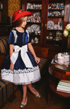 Navy Blue Dubai Viscose Dress with White Star Lace and Tulle Petticoats - LAZY FRANCIS - Shop in store at 406 Kings Road, Chelsea, London or shop online at www.lazyfrancis.com