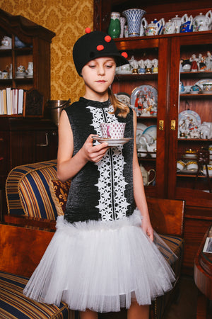 Black Viscose Trapeze Dress With White Tulle Skirt and Star Lace