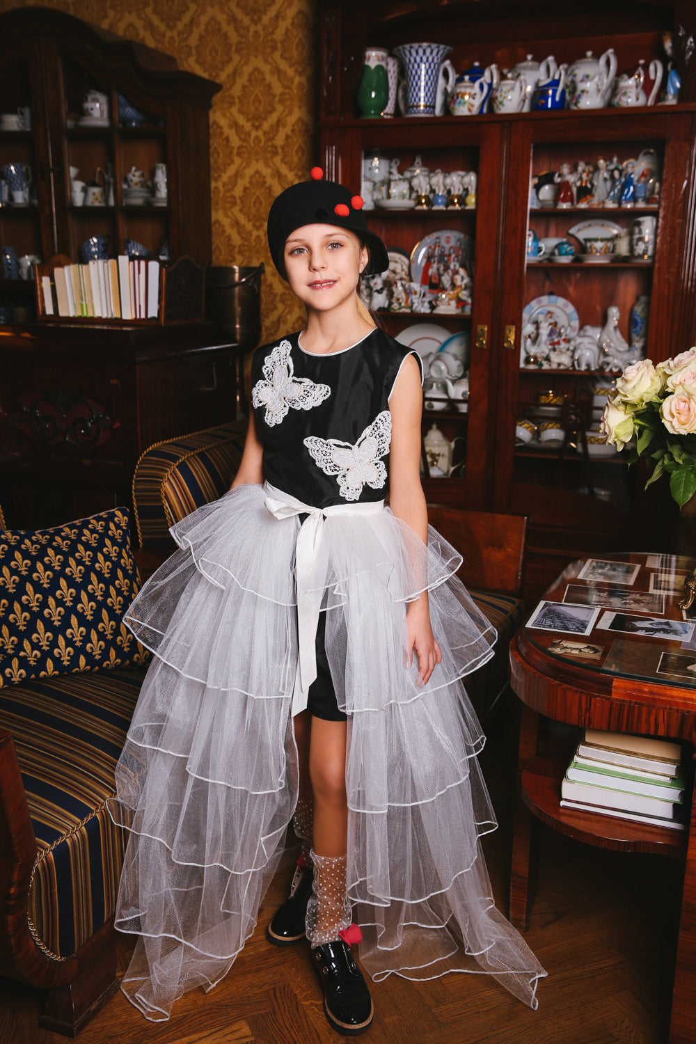 White Princess Butterfly Girls Maxi Tutu Skirt - LAZY FRANCIS - Shop in store at 406 Kings Road, Chelsea, London or shop online at www.lazyfrancis.com