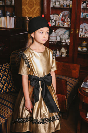 Gold Faux Leather High-Low Dress with Bow and Golden Black Lace - LAZY FRANCIS - Shop in store at 406 Kings Road, Chelsea, London or shop online at www.lazyfrancis.com