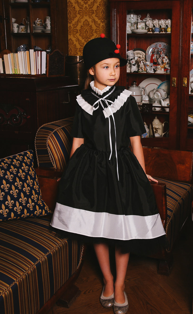 Stunning Black & Ivory Taffeta Girls Dress with Detachable Pleated Collar