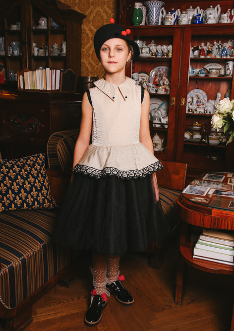Golden Beige Girls Peplum Tutu Dress - LAZY FRANCIS - Shop in store at 406 Kings Road, Chelsea, London or shop online at www.lazyfrancis.com
