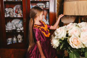 Bright Gold & Raspberry Pink Raw Silk High-Low Girls Dress - LAZY FRANCIS - Shop in store at 406 Kings Road, Chelsea, London or shop online at www.lazyfrancis.com