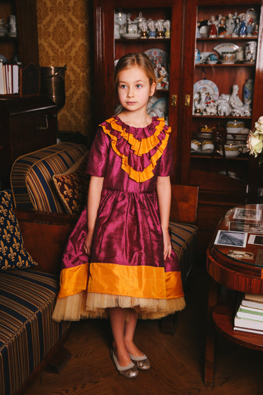 Belle Bright Gold & Raspberry Pink Raw Silk High-Low Girls Dress - LAZY FRANCIS - Shop in store at 406 Kings Road, Chelsea, London or shop online at www.lazyfrancis.com