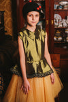 Olive & Gold Taffeta Peplum Girls Tutu Dress with Lace - LAZY FRANCIS - Shop in store at 406 Kings Road, Chelsea, London or shop online at www.lazyfrancis.com
