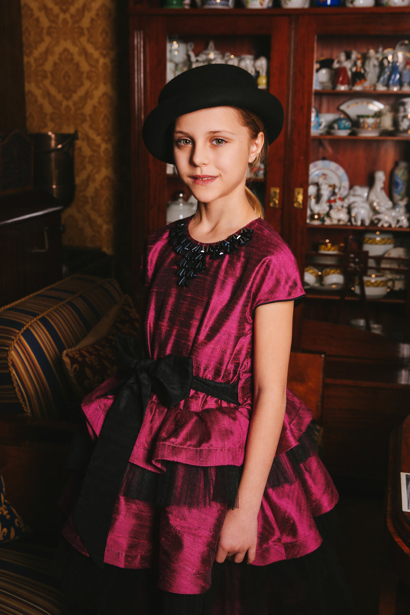 Raspberry Pink Raw Silk Queen Girls Dress with Black Tulle Ruffles - LAZY FRANCIS - Shop in store at 406 Kings Road, Chelsea, London or shop online at www.lazyfrancis.com