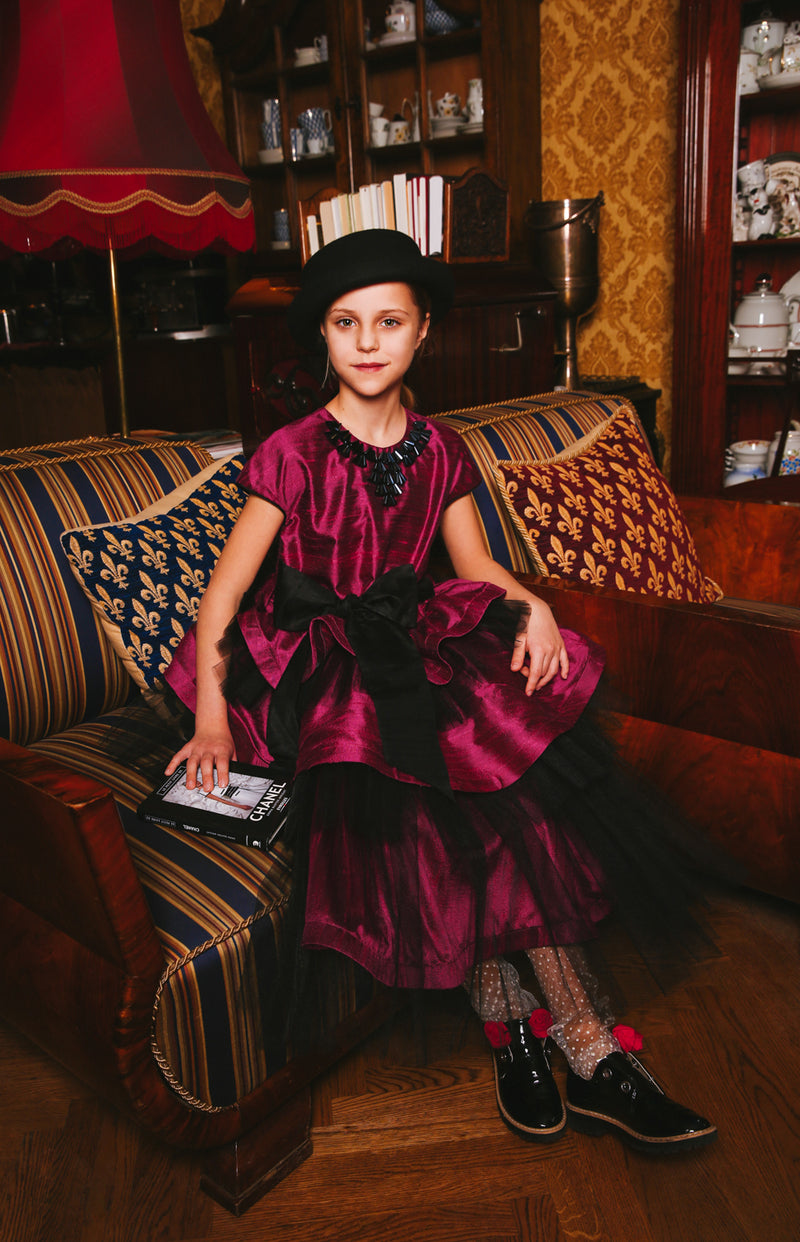 Stunning Raspberry Pink Raw Silk Queen Girls Dress with Black Tulle Ruffles