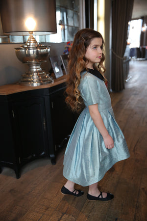 Sample! Ivy Aquamarine Raw Silk High-Low Girls Dress - LAZY FRANCIS - Shop in store at 406 Kings Road, Chelsea, London or shop online at www.lazyfrancis.com