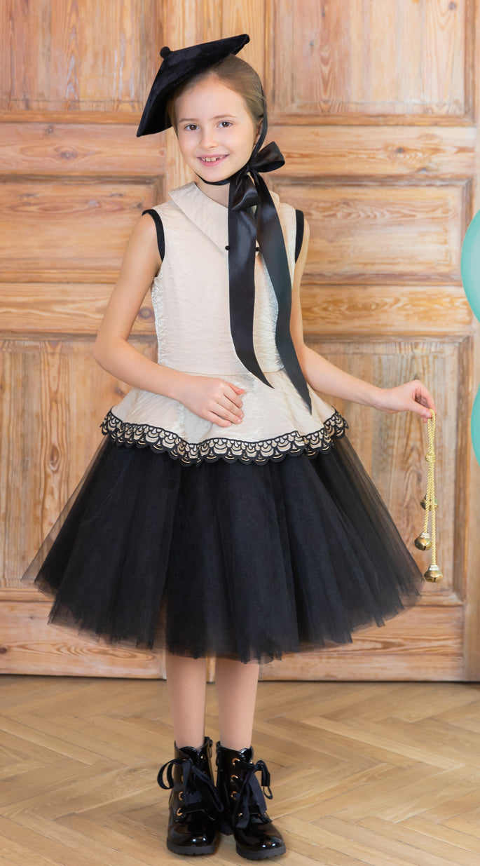 Golden Beige Girls Peplum Tutu Dress