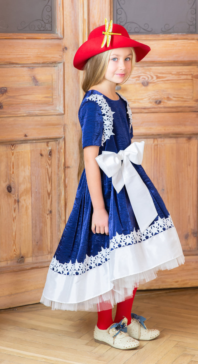 NEW! Navy Blue Dubai Viscose Dress with White Star Lace and Tulle Petticoats