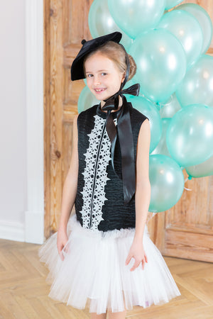 Black Trapeze Dress With White Tulle Skirt, decorated with Star Lace - LAZY FRANCIS - Shop in store at 406 Kings Road, Chelsea, London or shop online at www.lazyfrancis.com