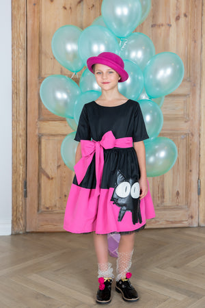 Black and Pink Full Girls Dress with Cat Appliqué - LAZY FRANCIS - Shop in store at 406 Kings Road, Chelsea, London or shop online at www.lazyfrancis.com