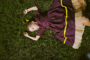 Autumn Dream Bordo High-Low Girls Dress with Gold Details and Tulle Underskirt