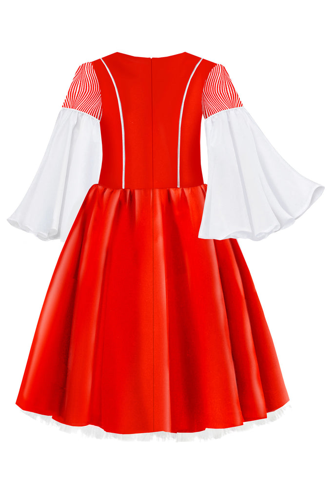 Red Satin Flared Girls Dress with White Flared Sleeves - LAZY FRANCIS - Shop in store at 406 Kings Road, Chelsea, London or shop online at www.lazyfrancis.com