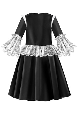 Black Satin Flared Girls Dress with White French Lace Ruffles - LAZY FRANCIS - Shop in store at 406 Kings Road, Chelsea, London or shop online at www.lazyfrancis.com