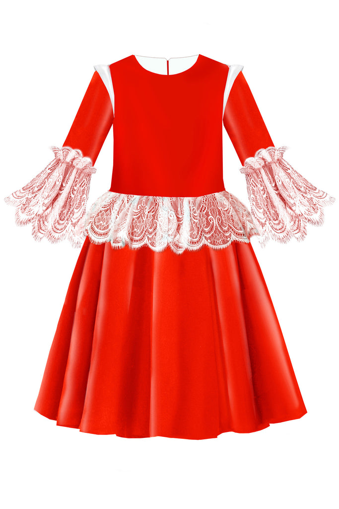 Red Satin Flared Girls Dress with White French Lace Ruffles - LAZY FRANCIS - Shop in store at 406 Kings Road, Chelsea, London or shop online at www.lazyfrancis.com