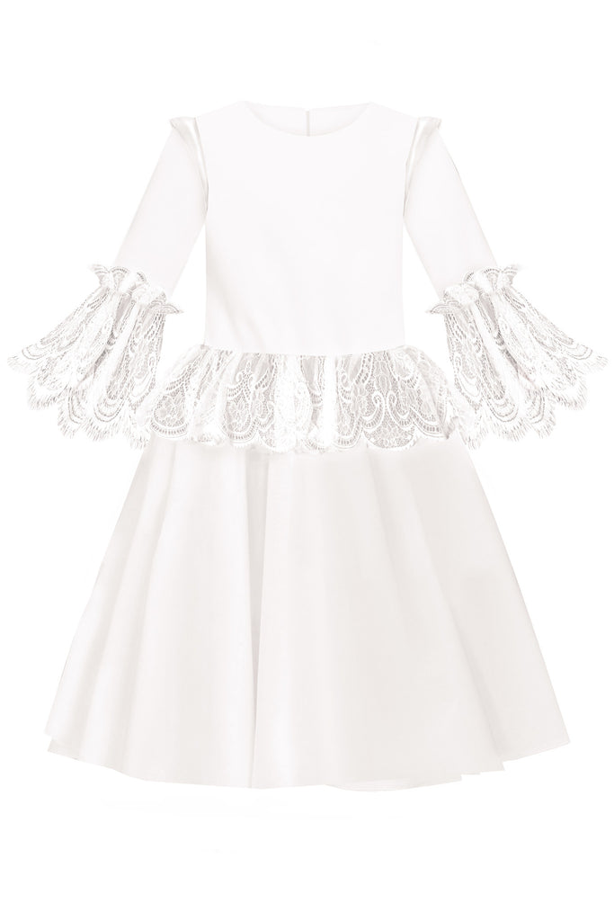 White Satin Flared Girls Dress with White French Lace Ruffles - LAZY FRANCIS - Shop in store at 406 Kings Road, Chelsea, London or shop online at www.lazyfrancis.com