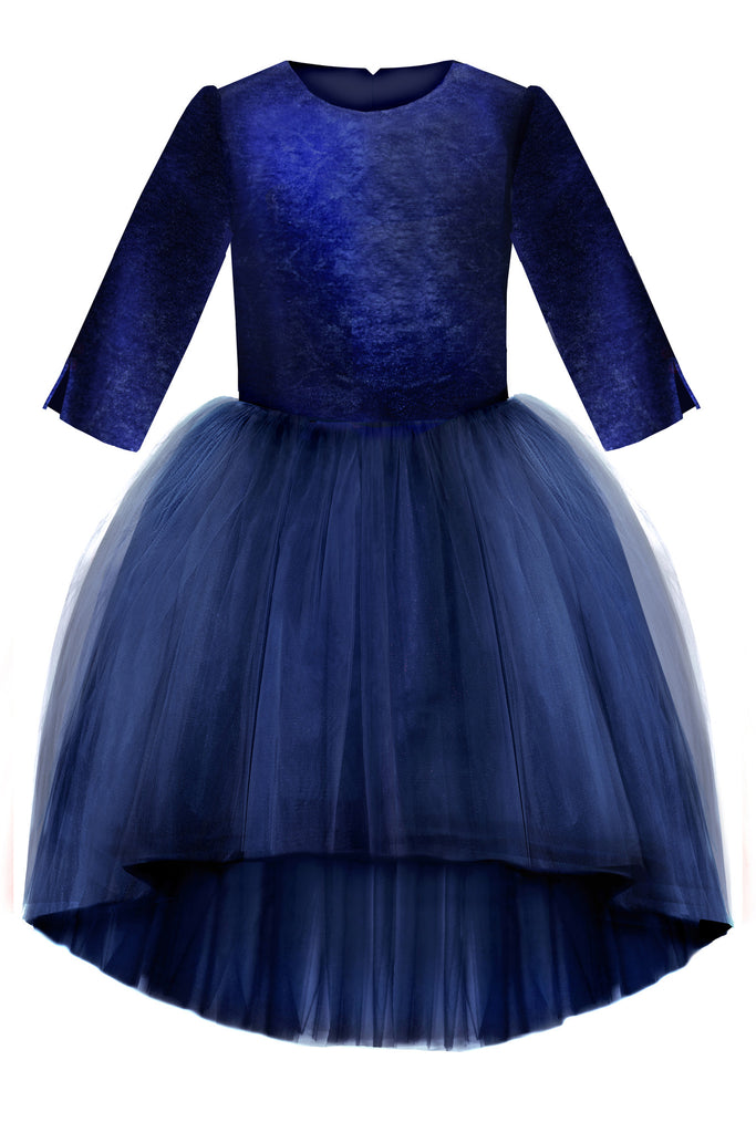 Navy Blue Velvet Top High-Low Tutu Girls Dress - LAZY FRANCIS - Shop in store at 406 Kings Road, Chelsea, London or shop online at www.lazyfrancis.com