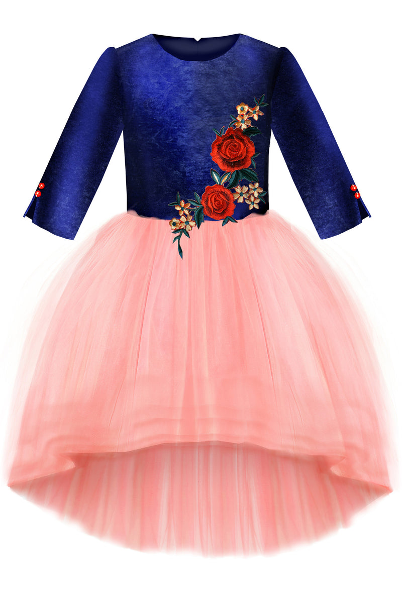 Navy Velvet Top & High-Low Pink Tutu Girls Dress with Rose Embroidery