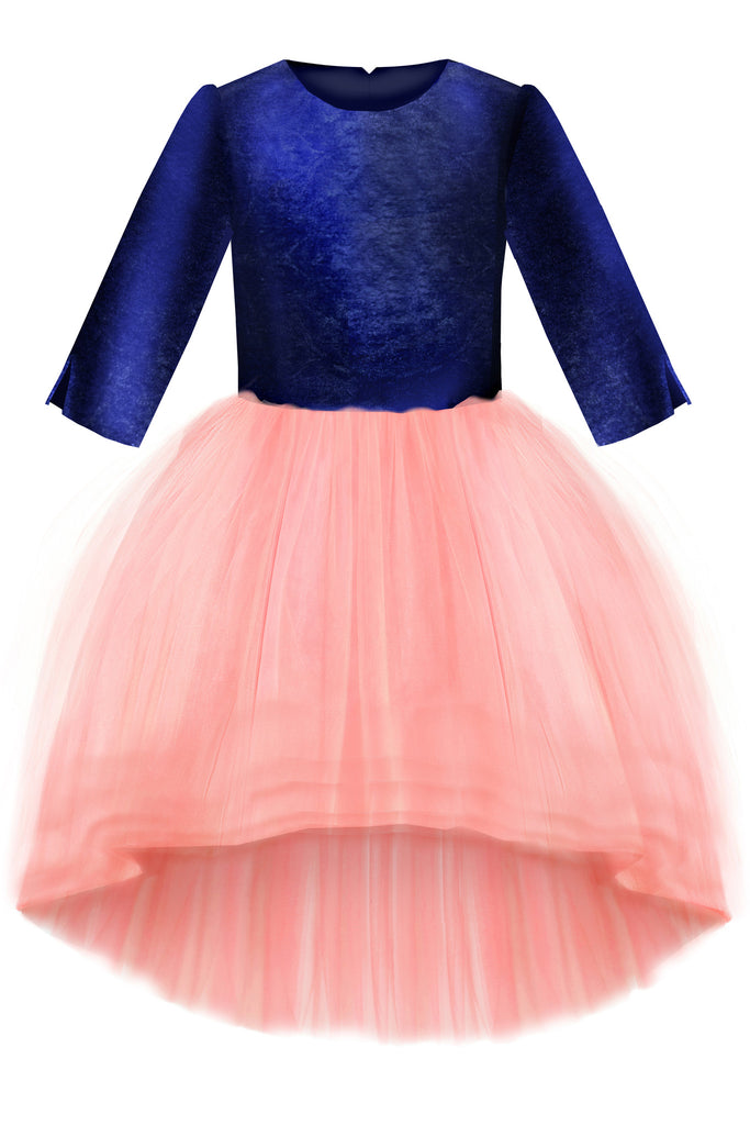Navy Blue Velvet Top & High-Low Pink Tutu Girls Dress - LAZY FRANCIS - Shop in store at 406 Kings Road, Chelsea, London or shop online at www.lazyfrancis.com