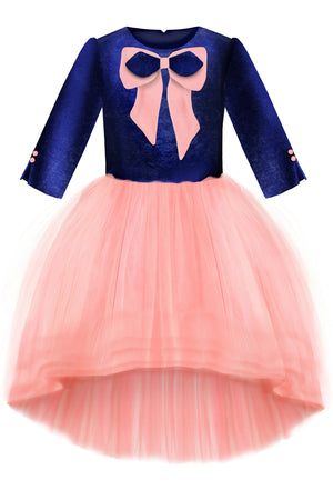 Navy Blue Velvet Top and Pink High-Low Tutu Girls Dress with a Bow - LAZY FRANCIS - Shop in store at 406 Kings Road, Chelsea, London or shop online at www.lazyfrancis.com