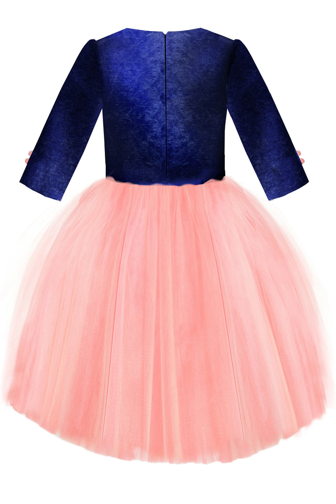 Navy Blue Velvet Top and Pink High-Low Tutu Girls Dress with Sequin Cat Appliqué - LAZY FRANCIS - Shop in store at 406 Kings Road, Chelsea, London or shop online at www.lazyfrancis.com